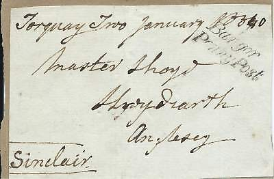 GB 1840 (Jan) Freefront Signed Sinclair with Bangor Penny Post Cachet - Anglesey