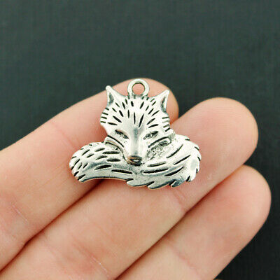 BULK 20 Fox Charms Antique Silver Tone with Wonderful Details - SC4051