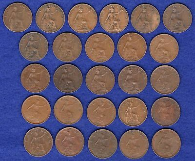 GB, Farthings, George V, 1911 to 1936, Complete Date Run, 26 Coins (Ref. t0834)