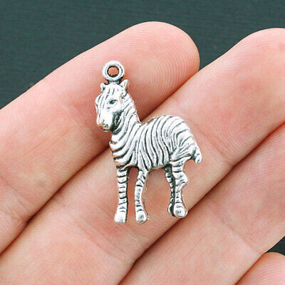 4 Zebra pendants antique silver tone A29