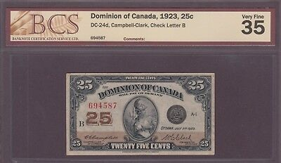 1923  25 Cents - VF 35 - BCS Certified - Dominion of Canada - B669