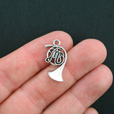 BULK 50 French Horn Charms Antique Silver Tone - SC3587