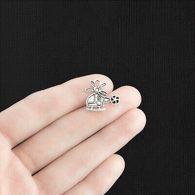 10 Helicopter charms antique silver tone TT96