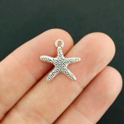 SC3188 BULK 50 Starfish Charms Antique Silver Tone Dainty and Classic