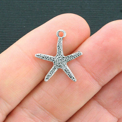 SC1345 6 Starfish Charms Antique Silver Tone Ocean Themed Shell