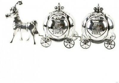 My First Tooth and Curl Cinderella Carriage Christening Gift - Silver Plate