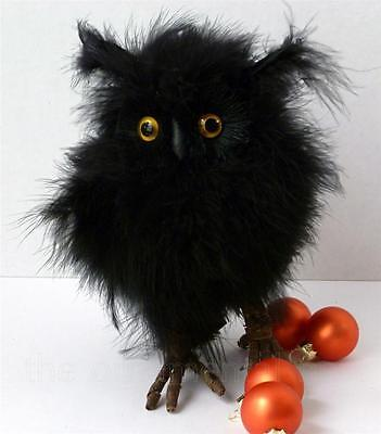 Large Fluffy Black Feathers Barn Owl Halloween Thanksgiving Ornament Decoration