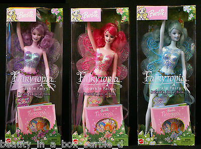 Sparkle Fairy Barbie Doll Lot 3 Boxes with Wear Pink Blue Lavender