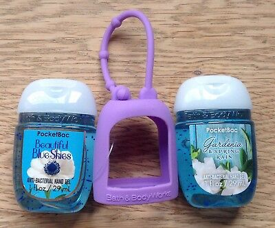 Bath & Body Works  2 x Hand Sanitizer Anti-Bac Gel & Holder, Garden Blue Skies