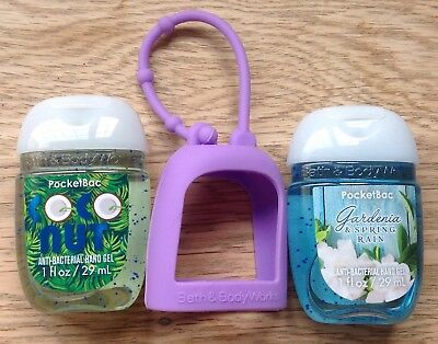 Bath & Body Works  2 x Hand Sanitizer Anti-Bac Gel & Holder,  Gardeneria Coconut