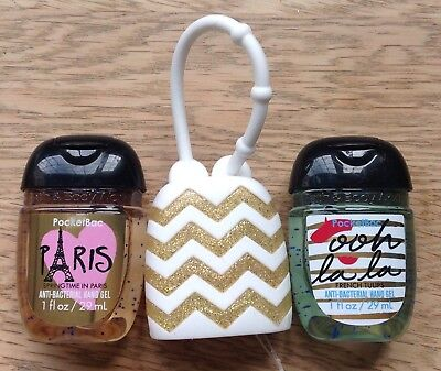 Bath & Body Works  2 x Hand Sanitizer Anti-Bac Gel & Holder, Paris Ooh La La