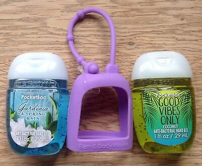 Bath & Body Works  2 x Hand Sanitizer Anti-Bac Gel & Holder, Vibes  Gardeneria