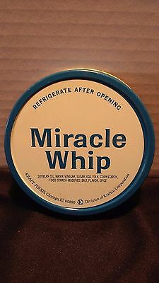 "Vintage 1950s Wide-mouth  ""KRAFT Miracle Whip "" Advertising Lid 9/10 Blue/White"