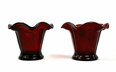 Vintage Cranberry Ruby Glass Vases Pair