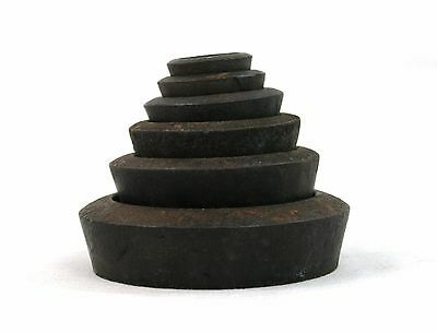 Early 20th C. Cast Iron Round Kitchen Weights Set of 6 1 oz. to 2 lb