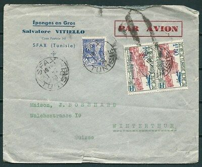 Tunisia 1938 Cover Posted To Switzerland, Nice Stamps -Cag 030516