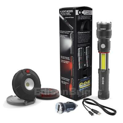 NEBO SLYDE KING  rechargeable LED Flashlight w/Twin Pucks Auto emergency Lights