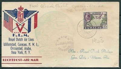 CURACAO 1943 COVER KLM 1st OFFICIAL FLIGHT TO MIAMI & NEWS FRAGMENTS -CAG 030516