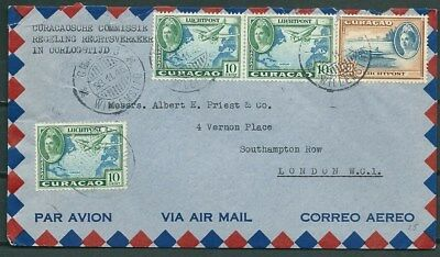Curacao 1945 Cover Airmail Posted To London, Nice Stamps -Cag 030516