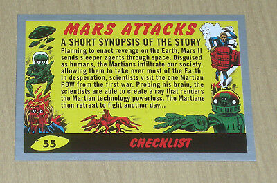 2017 Topps MARS ATTACKS Revenge SILVER parallel BASE color #55 CHECKLIST 8/10