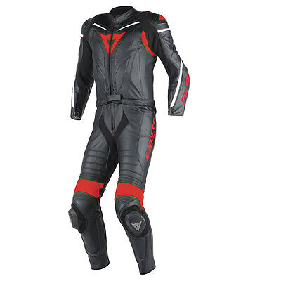 Dainese Laguna Seca D1 Black / Black / Red Motorcycle Two Piece Suit All Sizes
