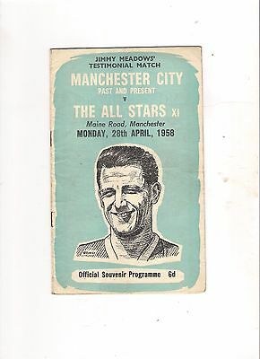 1957/8  Manchester City v All Stars X1---Jimmy Meadows Testimoniall