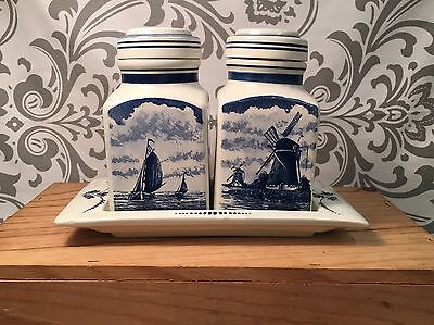 Delft Blue Bleau Signed Made in Holland Canister Set with Tray 3 pcs Rare #353