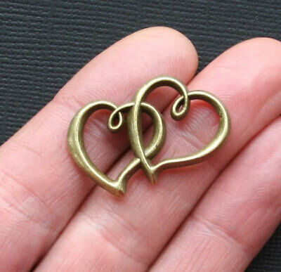 BULK 25 Double Heart Charms Antique Silver Tone 2 Sided SC3124