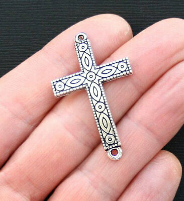 4 Cross Connector Charms Antique Silver Tone Wonderful Details - SC3173