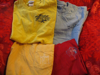 Lot Of 4 Guy Harvey Salt Life Fishing Two Sided Pocket Shirts Yellow Blue Red