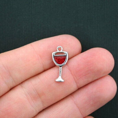 4 Magnifying glass charms antique silver tone P400