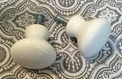 2 True Vintage Ceramic Porcelain Drawer Cabinet Pulls Knobs 1.25 inches #79
