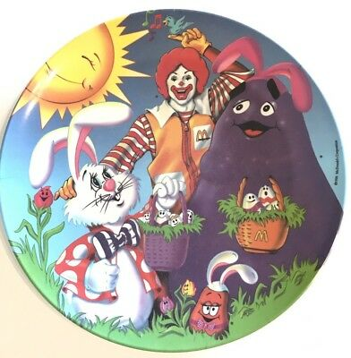 McDonalds Easter Plate 1996 Hard Plastic PMC Bunny Grimace Ronald