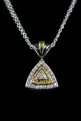 18K White and Yellow Gold and Diamond Triangle Necklace