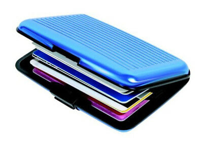 2 Pack Aluminum Wallet RFID Blocking Credit Card Case Holder Pocket - Blue