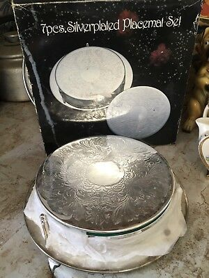 Vintage Style 6 Silver Plated Engraved Place Mats In Stand Boxed