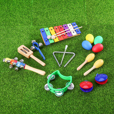 Percussion Set Musical Instruments Toy Rhythm Band Set Kids Gift