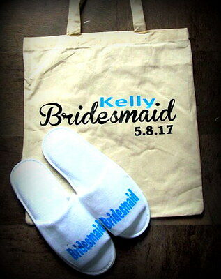 Personalised tote bag & slippers bridesmaid/flowergirl , bride Wedding,,Gift