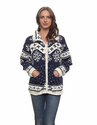 Women's Otavalo Wool/Cotton Hand-Knit Nian Cardigan Sweater - Blue and White