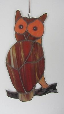 Handmade Vintage Stained Glass Owl Suncatcher In Edxcellent Condition