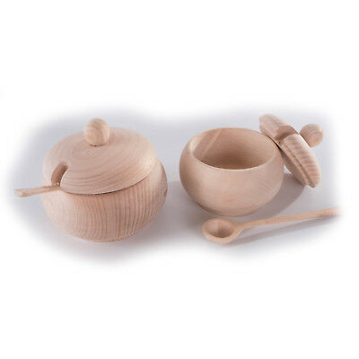 Wooden Sugar Bowl with Lid and Spoon made from Beechwood / 2 Sizes