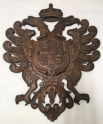 """Antique Carved Wood Coat Of Arms Plaque Made for swords 27"""" High 22.5"""" across."""