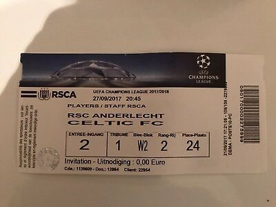 Ticket: Rsc Anderlecht - Celtic Fc  27/09/2017 Champions League 17/18