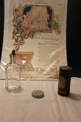 Antique Djer Kiss Perfume Advertising 1919 + Perfume Bottle-Talcum & Creme