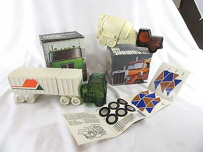 2 Vintage AVON Truck Decanters Highway King & Cement Mixer - Wild Country - NIB