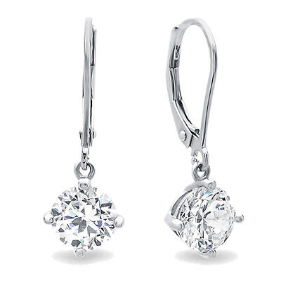 Women Rhodium Plated Silver 2.5ct Round CZ 4 Prong Leverback Dangle Earrings