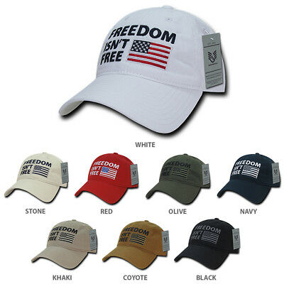 Freedom Isn't Free Embroidered Soft Crown Washed Cotton Baseball Cap - FREE SHIP