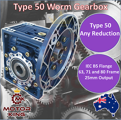 Worm Gearbox Type 50 B5 Any Reduction 11mm 14mm 19mm Input Shaft