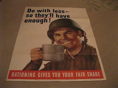 """Do With Less So They Have More"" rationing poster full color image Poster WWII"
