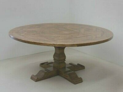 """60"""" Restoration Salvaged  Rustic Solid Wood Round Trestle Pedestal Dining Table"""